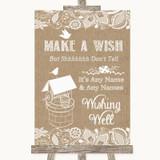 Burlap & Lace Wishing Well Message Customised Wedding Sign