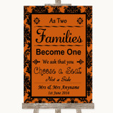 Burnt Orange Damask As Families Become One Seating Plan Wedding Sign