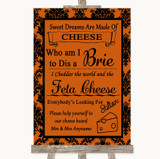 Burnt Orange Damask Cheese Board Song Customised Wedding Sign
