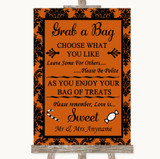 Burnt Orange Damask Grab A Bag Candy Buffet Cart Sweets Wedding Sign