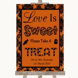 Burnt Orange Damask Love Is Sweet Take A Treat Candy Buffet Wedding Sign