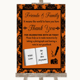 Burnt Orange Damask Photo Guestbook Friends & Family Customised Wedding Sign