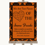 Burnt Orange Damask Puzzle Piece Guest Book Customised Wedding Sign