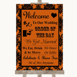 Burnt Orange Damask Welcome Order Of The Day Customised Wedding Sign
