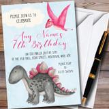 Girls Pink Watercolour Dinosaur Children's Birthday Party Invitations