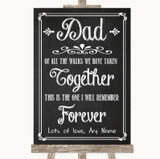Chalk Sketch Dad Walk Down The Aisle Customised Wedding Sign
