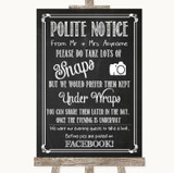 Chalk Sketch Don't Post Photos Facebook Customised Wedding Sign