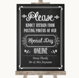 Chalk Sketch Don't Post Photos Online Social Media Customised Wedding Sign