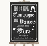 Chalk Sketch Drink Champagne Dance Stars Customised Wedding Sign