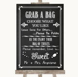 Chalk Sketch Grab A Bag Candy Buffet Cart Sweets Customised Wedding Sign