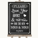 Chalk Sketch Guestbook Advice & Wishes Lesbian Customised Wedding Sign