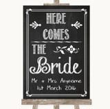 Chalk Sketch Here Comes Bride Aisle Sign Customised Wedding Sign