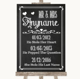 Chalk Sketch Important Special Dates Customised Wedding Sign