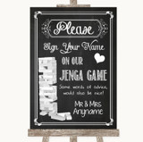 Chalk Sketch Jenga Guest Book Customised Wedding Sign