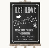 Chalk Sketch Let Love Sparkle Sparkler Send Off Customised Wedding Sign