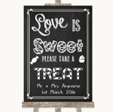 Chalk Sketch Love Is Sweet Take A Treat Candy Buffet Customised Wedding Sign