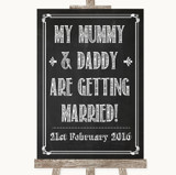Chalk Sketch Mummy Daddy Getting Married Customised Wedding Sign
