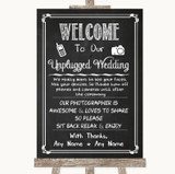 Chalk Sketch No Phone Camera Unplugged Customised Wedding Sign