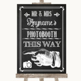 Chalk Sketch Photobooth This Way Left Customised Wedding Sign