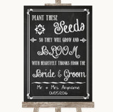 Chalk Sketch Plant Seeds Favours Customised Wedding Sign