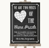 Chalk Sketch Puzzle Piece Guest Book Customised Wedding Sign