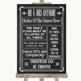 Chalk Sketch Rules Of The Dancefloor Customised Wedding Sign
