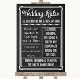 Chalk Sketch Rules Of The Wedding Customised Wedding Sign
