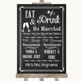 Chalk Sketch Signature Favourite Drinks Customised Wedding Sign
