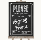 Chalk Sketch Signing Frame Guestbook Customised Wedding Sign