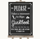 Chalk Sketch Take A Moment To Sign Our Guest Book Customised Wedding Sign