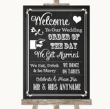 Chalk Sketch Welcome Order Of The Day Customised Wedding Sign