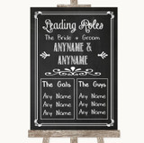 Chalk Sketch Who's Who Leading Roles Customised Wedding Sign
