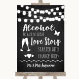 Chalk Style Black & White Lights Alcohol Bar Love Story Wedding Sign