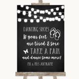 Chalk Style Black & White Lights Dancing Shoes Flip Flops Wedding Sign