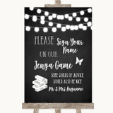 Chalk Style Black & White Lights Jenga Guest Book Customised Wedding Sign