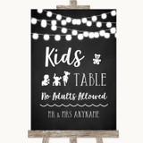 Chalk Style Black & White Lights Kids Table Customised Wedding Sign