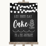 Chalk Style Black & White Lights Let Them Eat Cake Customised Wedding Sign