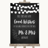 Chalk Style Black & White Lights Blow Bubbles Customised Wedding Sign