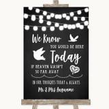 Chalk Style Black & White Lights Loved Ones In Heaven Customised Wedding Sign