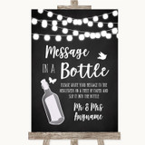Chalk Style Black & White Lights Message In A Bottle Customised Wedding Sign