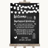 Chalk Style Black & White Lights No Phone Camera Unplugged Wedding Sign