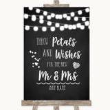 Chalk Style Black & White Lights Petals Wishes Confetti Wedding Sign