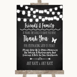 Chalk Style Black & White Lights Photo Guestbook Friends & Family Wedding Sign