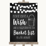 Chalk Style Black & White Lights Bucket List Customised Wedding Sign