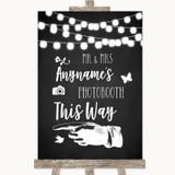 Chalk Style Black & White Lights Photobooth This Way Left Wedding Sign