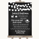 Chalk Style Black & White Lights Pick A Prop Photobooth Wedding Sign