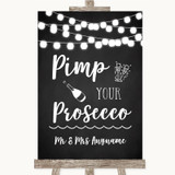 Chalk Style Black & White Lights Pimp Your Prosecco Customised Wedding Sign