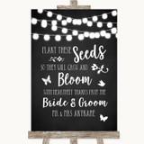 Chalk Style Black & White Lights Plant Seeds Favours Customised Wedding Sign