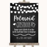 Chalk Style Black & White Lights Polaroid Guestbook Customised Wedding Sign
