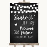 Chalk Style Black & White Lights Polaroid Picture Customised Wedding Sign